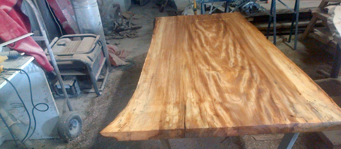 Custom-made live edge table